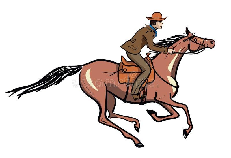Всадник спины лошади иллюстрация вектора