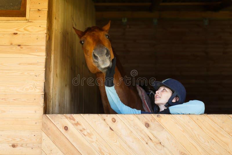 Всадник с лошадью стоковая фотография rf