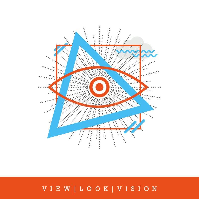 Всевидящее око, взгляд - взгляд - стиль зрения плоский и тонкая линия значок, иллюстрация вектора бесплатная иллюстрация