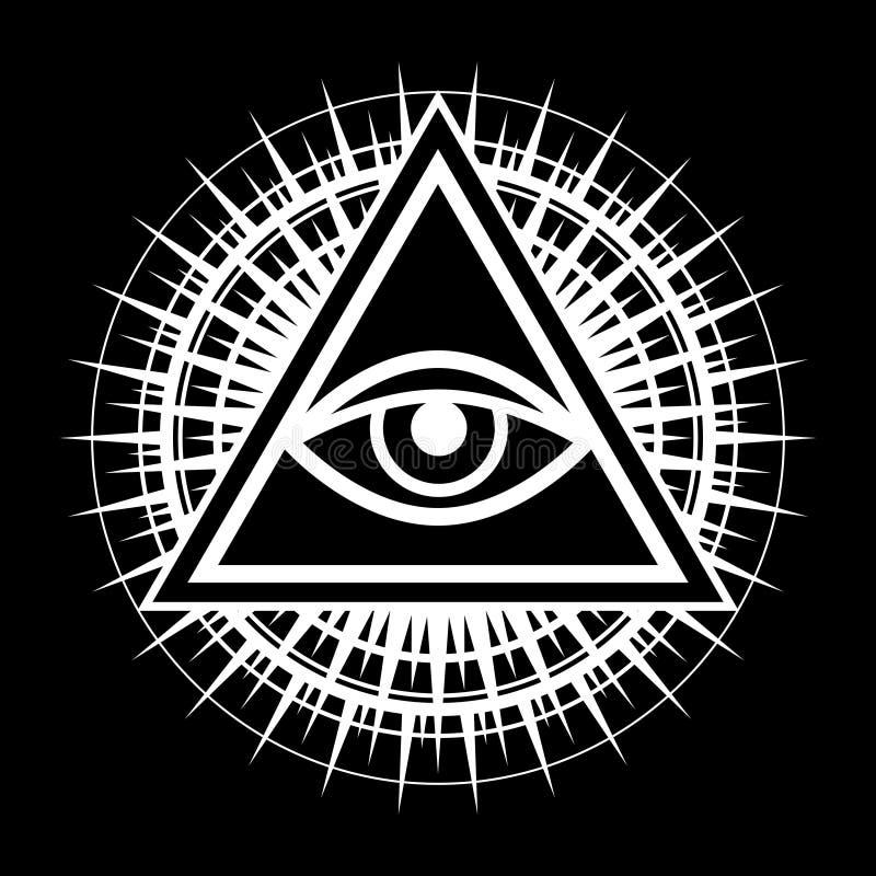 Всевидящее око глаз Провиденса иллюстрация штока