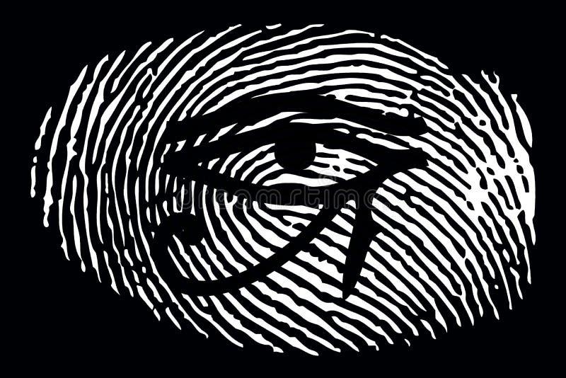 Всевидящее око на отпечатке пальцев на черной предпосылке бесплатная иллюстрация