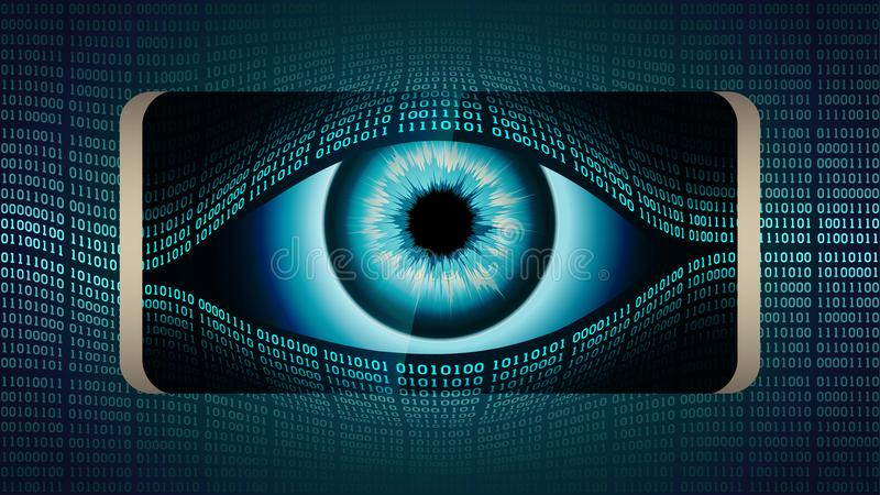 Всевидящее око старшего брата в вашем smartphone, концепция постоянного глобального скрытого наблюдения используя мобильные устро иллюстрация штока