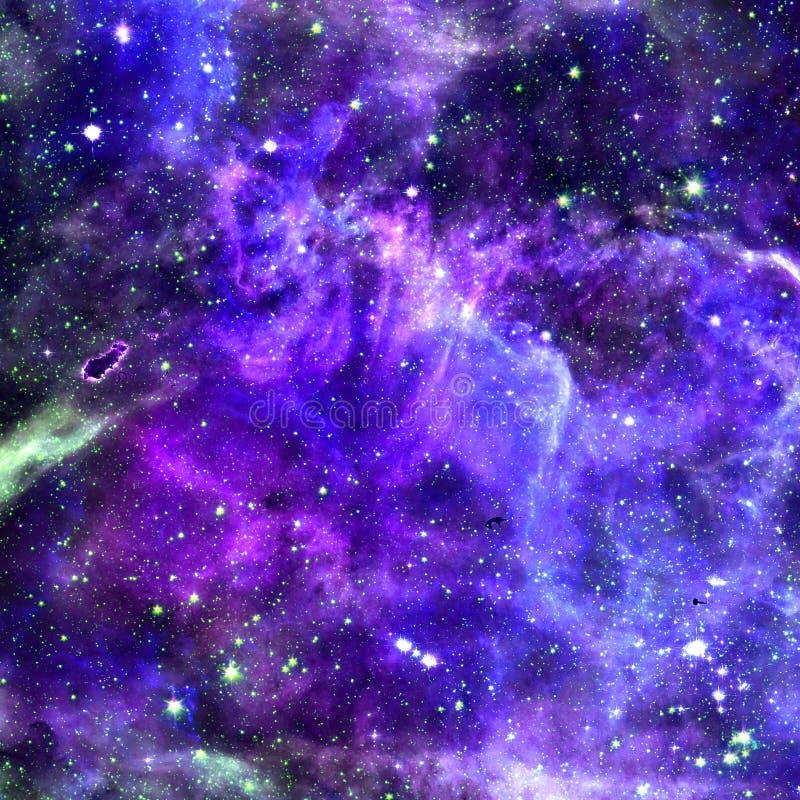 Вселенная заполненная со звездами, межзвёздным облаком и галактикой иллюстрация штока