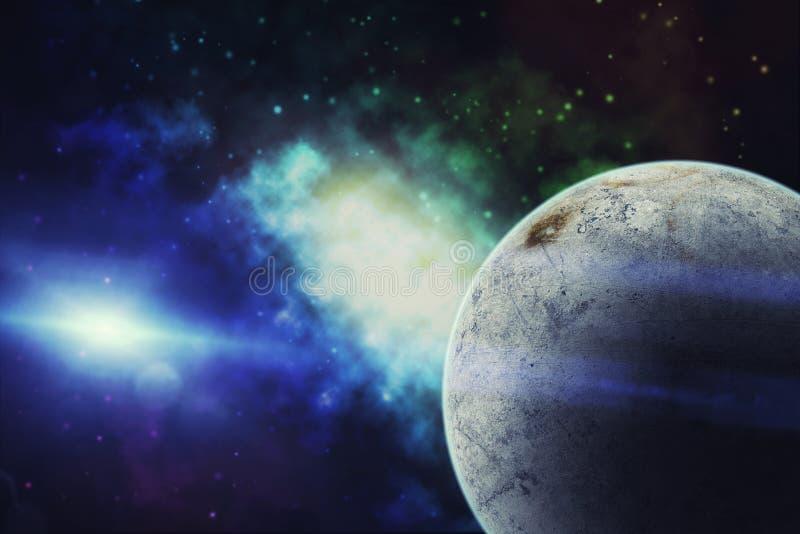 Вселенная заполнила с звездой, межзвёздным облаком, планетой льда и галактикой стоковые изображения rf