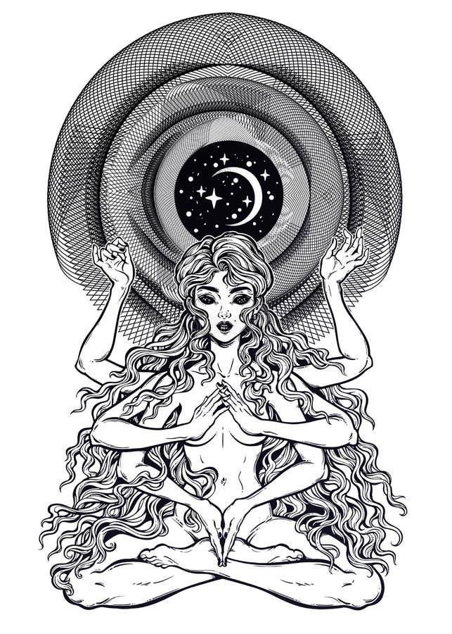 Вселенная космоса и времени много подготовила девушку богини в положении лотоса с длинными волосами, 6 руками иллюстрация штока