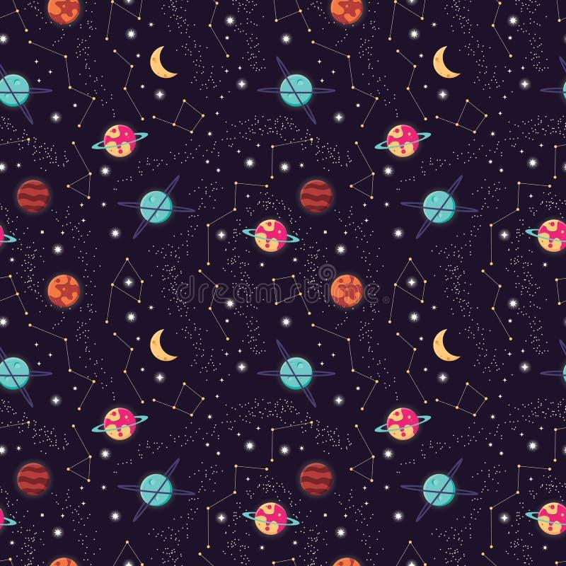 Вселенная с планетами и звездами безшовной картиной, небом звездной ночи космоса иллюстрация вектора