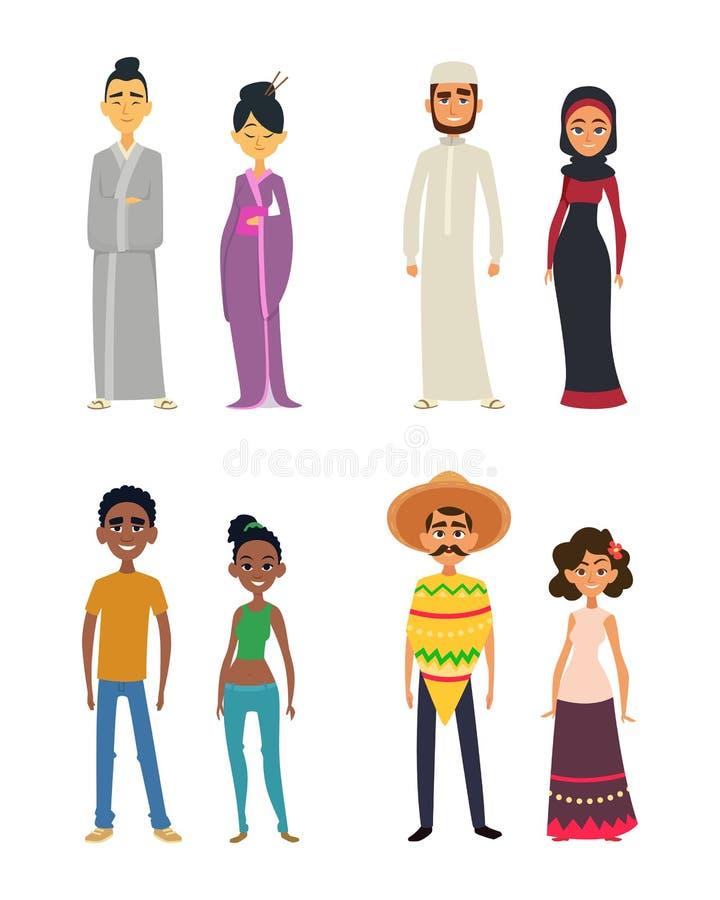 Всемирная группа в составе международные люди в стиле шаржа иллюстрация вектора