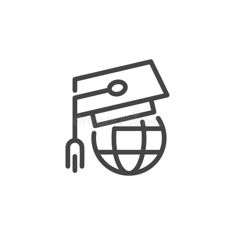 Всемирное онлайн образование Крышка градации и эмблема планеты Межэтнический обмен знания мира иллюстрация вектора