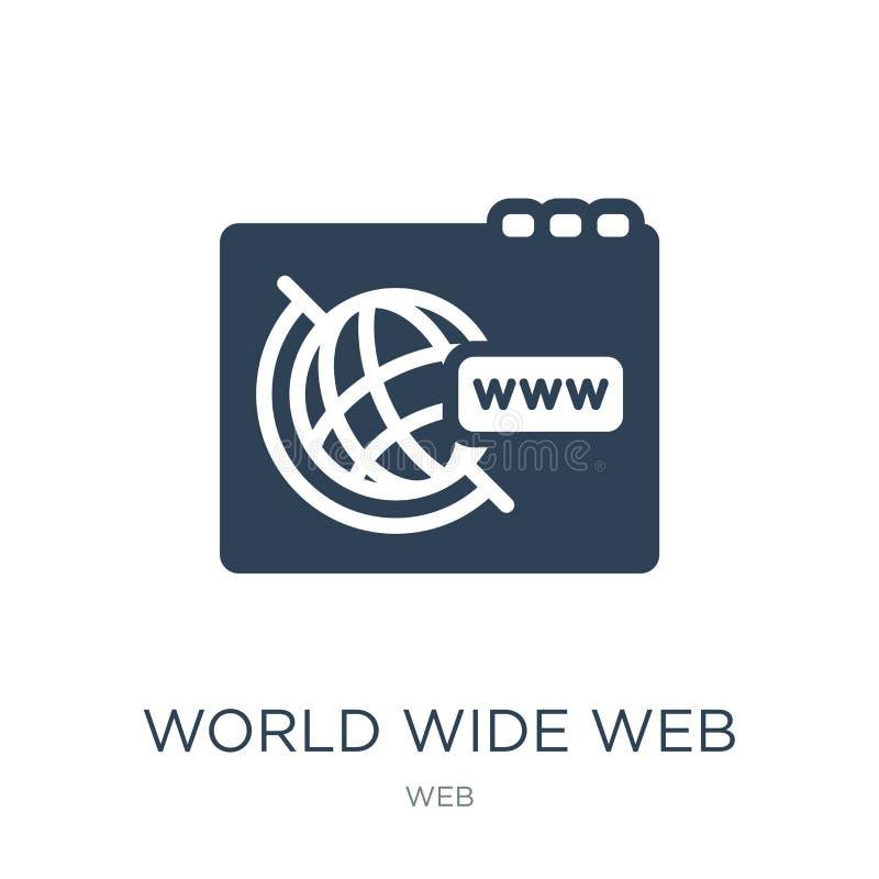 Всемирный Веб на значке решетки в ультрамодном стиле дизайна Всемирный Веб на значке решетки изолированном на белой предпосылке В иллюстрация вектора