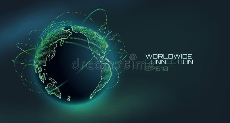 Всемирный глобус вектора конспекта соединения Линия технологии радиосвязи с траекторией данных по информации США иллюстрация вектора