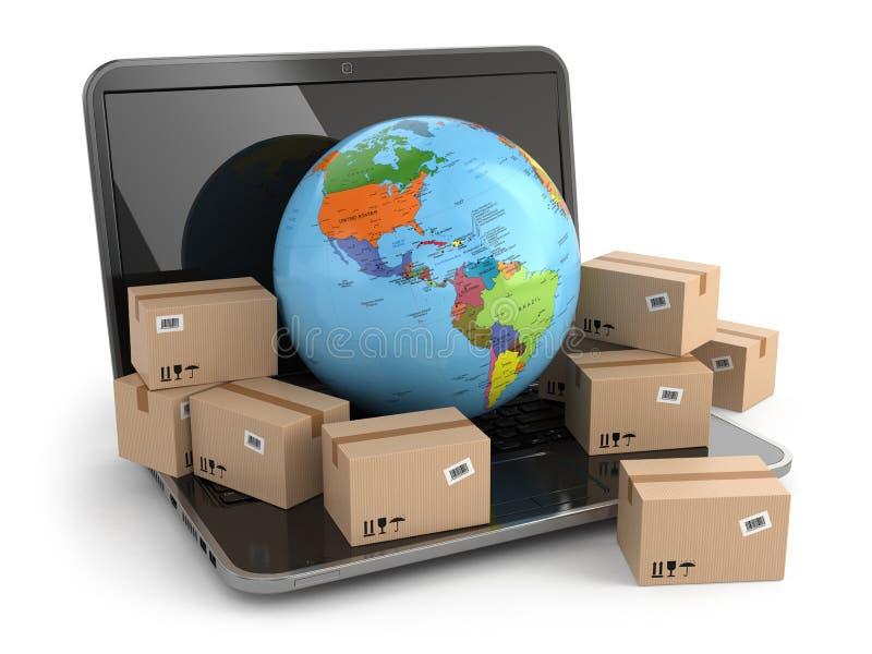 Всемирный поставлять. Земля и коробки на компьтер-книжке. иллюстрация штока