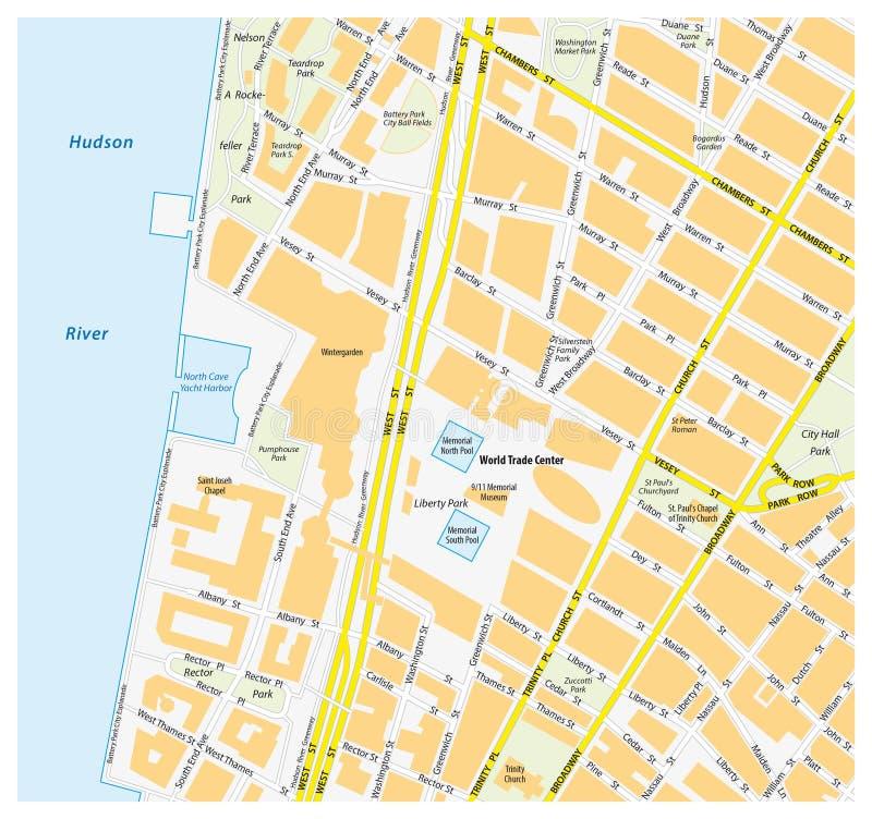 Всемирный торговый центр Манхаттана карты городской, Нью-Йорк иллюстрация вектора