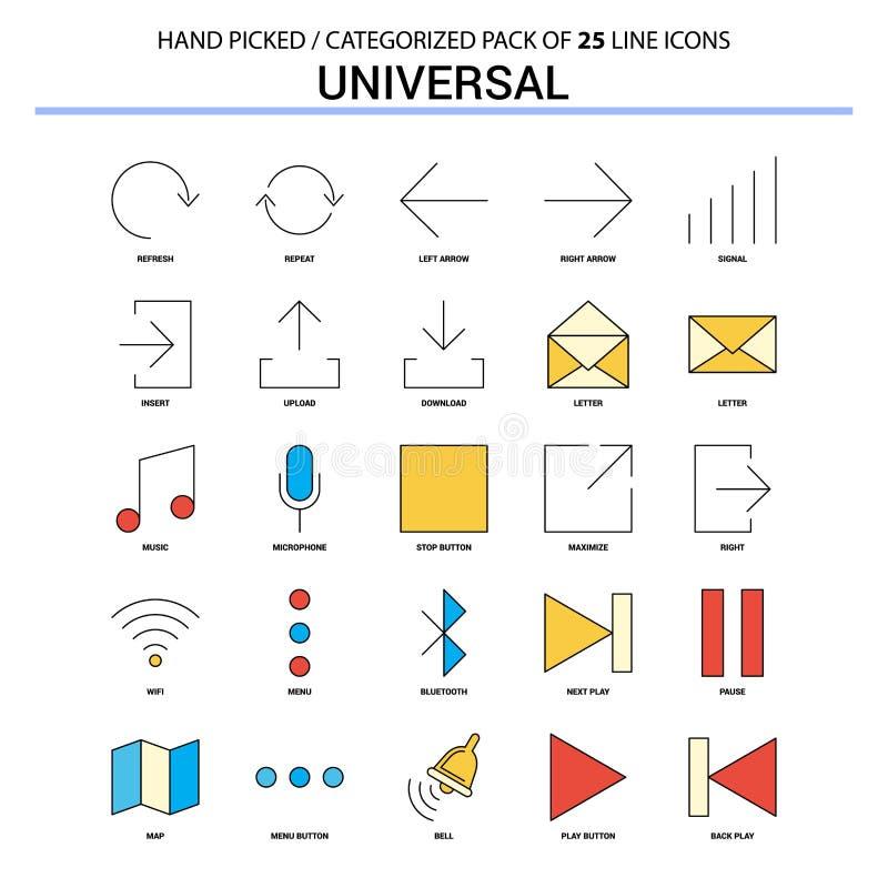 Всеобщая плоская линия набор значка - значки концепции дела конструируют иллюстрация штока