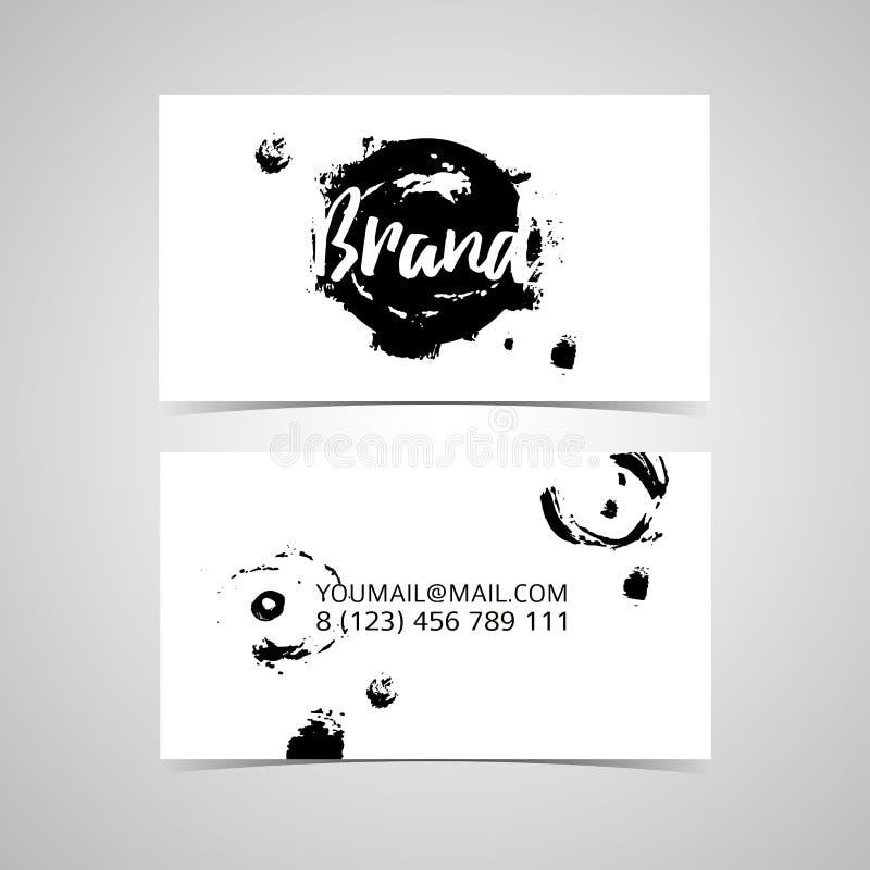 Всеобщая monochrome визитная карточка шаблона дизайна с абстрактными ходами щетки и пятном чернил конструирует иллюстрация штока