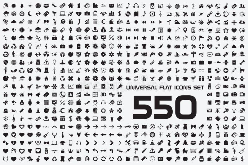 Всеобщий комплект 550 значков иллюстрация штока