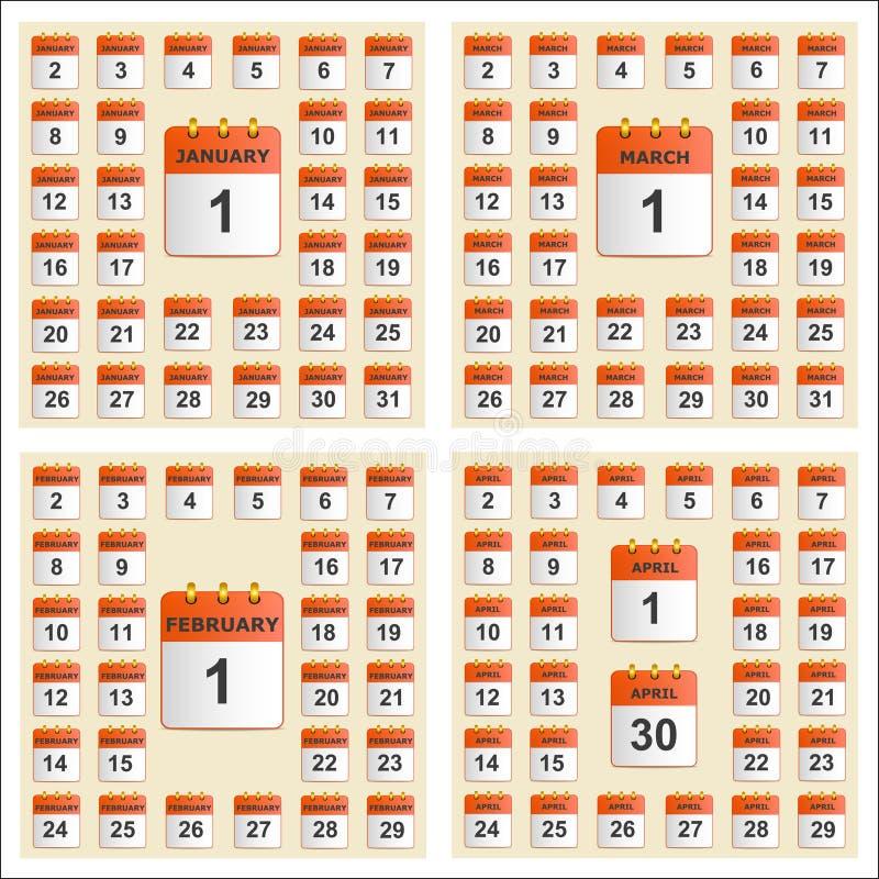 Всеобщий комплект календаря стены с января до апреля иллюстрация штока