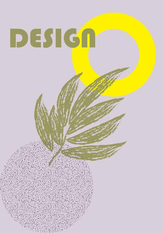 Всеобщий плакат тенденции сопоставлятьый с составом элементов яркой смелой геометрической листвы листьев желтым Предпосылка в зад бесплатная иллюстрация