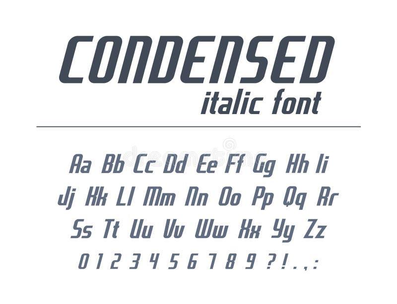 Всеобщий шрифт для текста заголовка дела Сконденсированный, узкая часть, алфавит курсивом Динамический стиль оформления для дизай иллюстрация штока