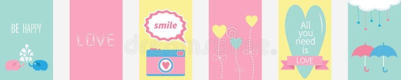 Все вам текст цитаты любов Пары семьи слона, photocamera, цветок, сердце, зонтик, облако, падения штрихового пунктира, розовая ле иллюстрация штока