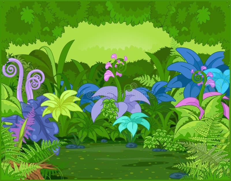 все валы карандаша ладони ландшафта джунглей чертежа иллюстрация штока