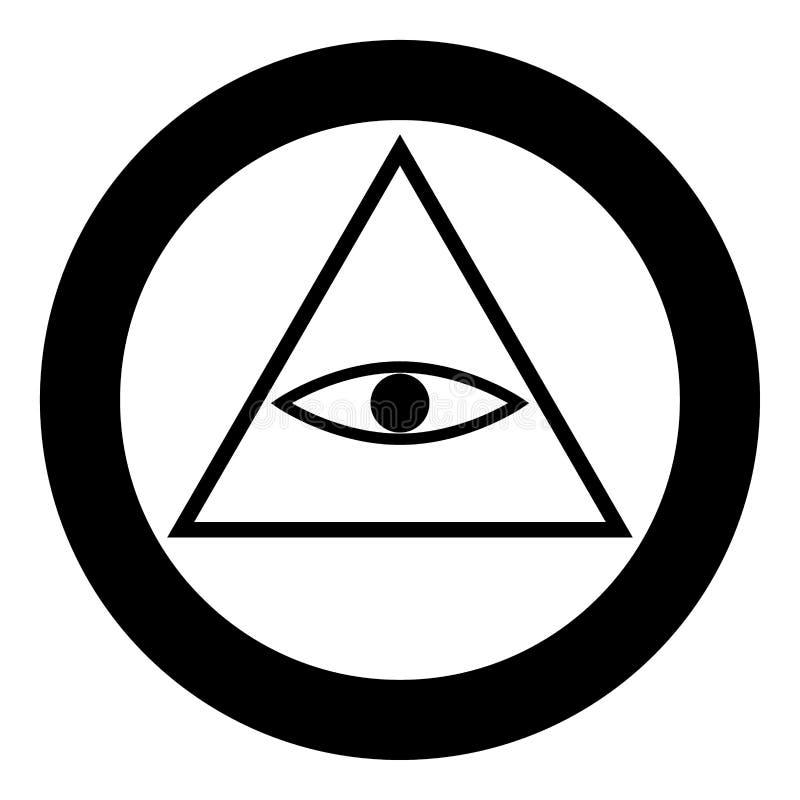 Все видя цвет черноты значка символа глаза в круге или круглый бесплатная иллюстрация