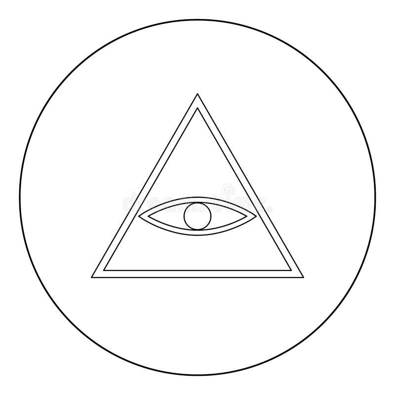 Все видя цвет черноты значка символа глаза в круге или круглый иллюстрация штока