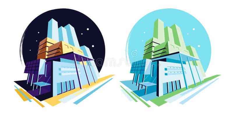 Все время современные здания Взгляд перспективы Собрание иллюстрации вектора иллюстрация вектора