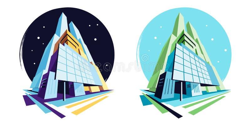 Все время современные здания r Собрание иллюстрации вектора иллюстрация вектора