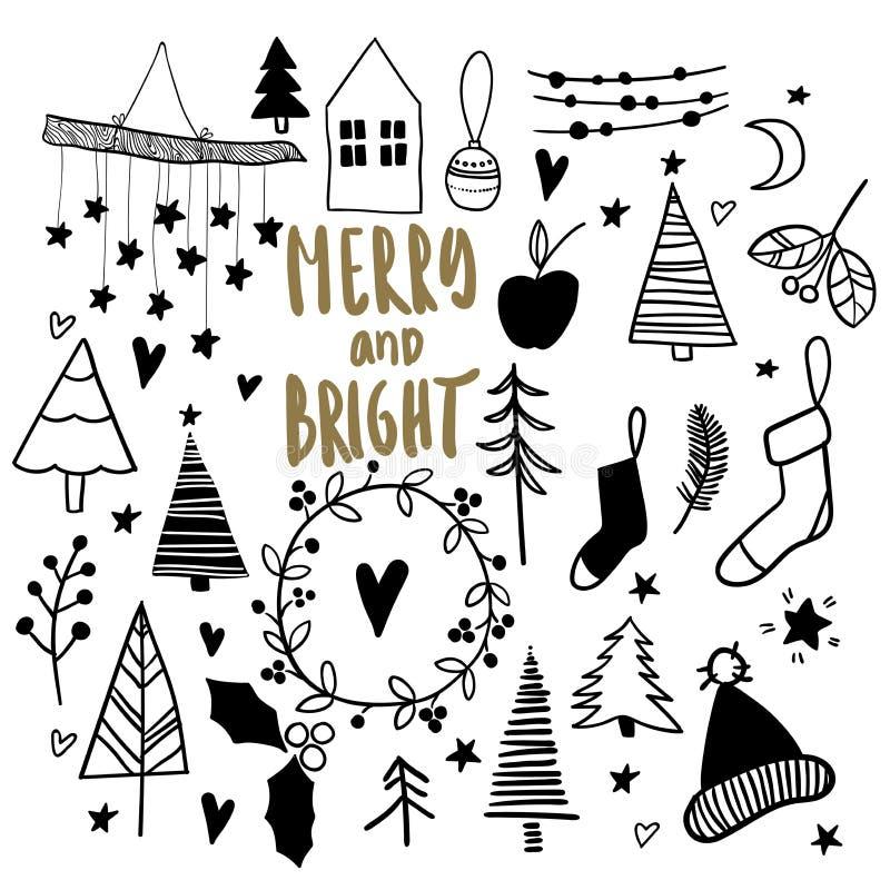 все градиенты doodles cmyk рождества легкие не собрали никакое recolour предметов к Нарисованные рукой значки вектора Стикеры Xma бесплатная иллюстрация