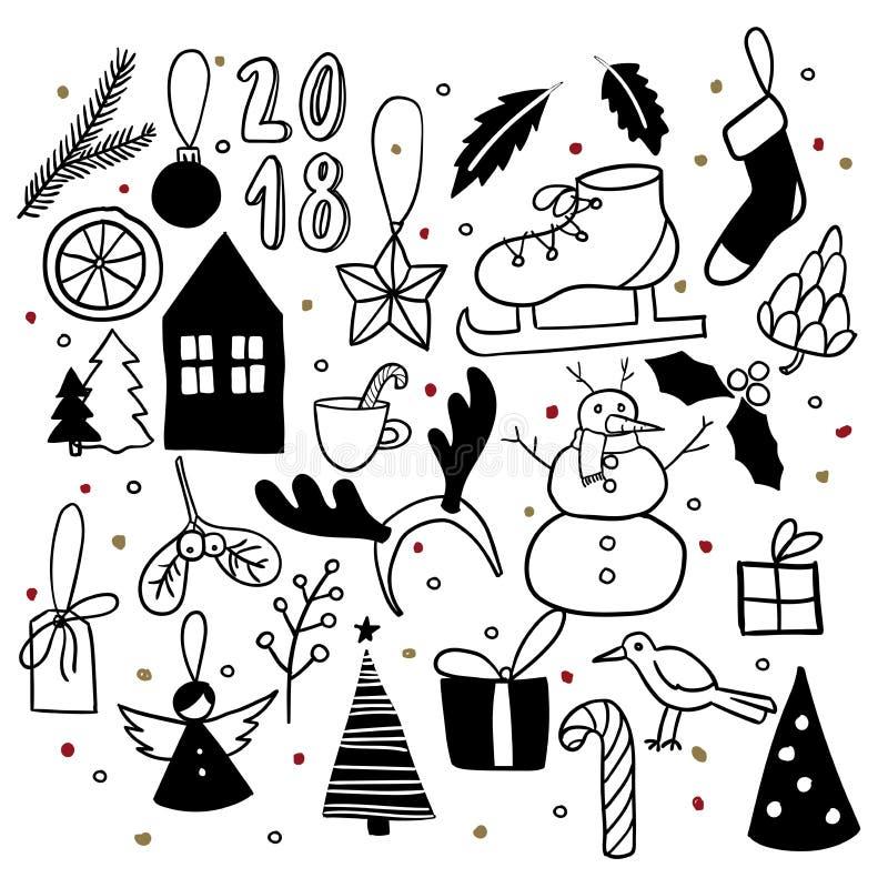 все градиенты doodles cmyk рождества легкие не собрали никакое recolour предметов к Нарисованные рукой значки вектора Стикер Xmas иллюстрация штока