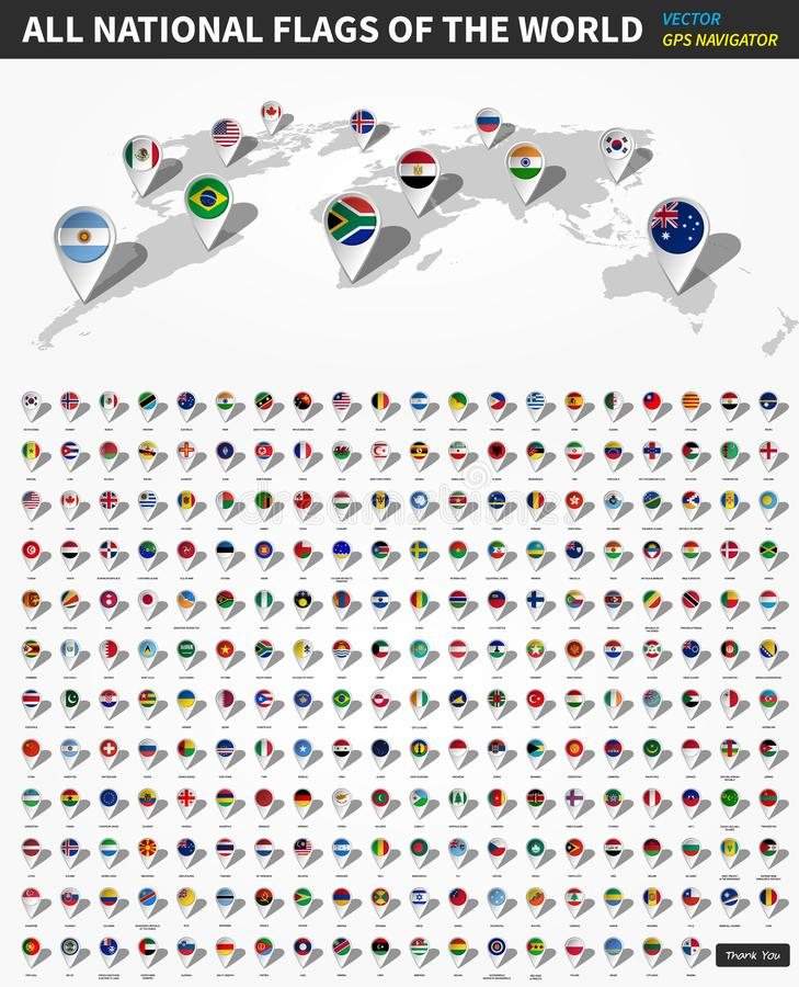 Все официальные национальные флаги мира Штырь положения навигатора GPS на карте земли перспективы в белой предпосылке вектор бесплатная иллюстрация