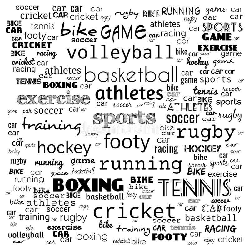 Все спорт формулируют коллаж облака, хобби и предпосылку концепции отдыха - вектор бесплатная иллюстрация