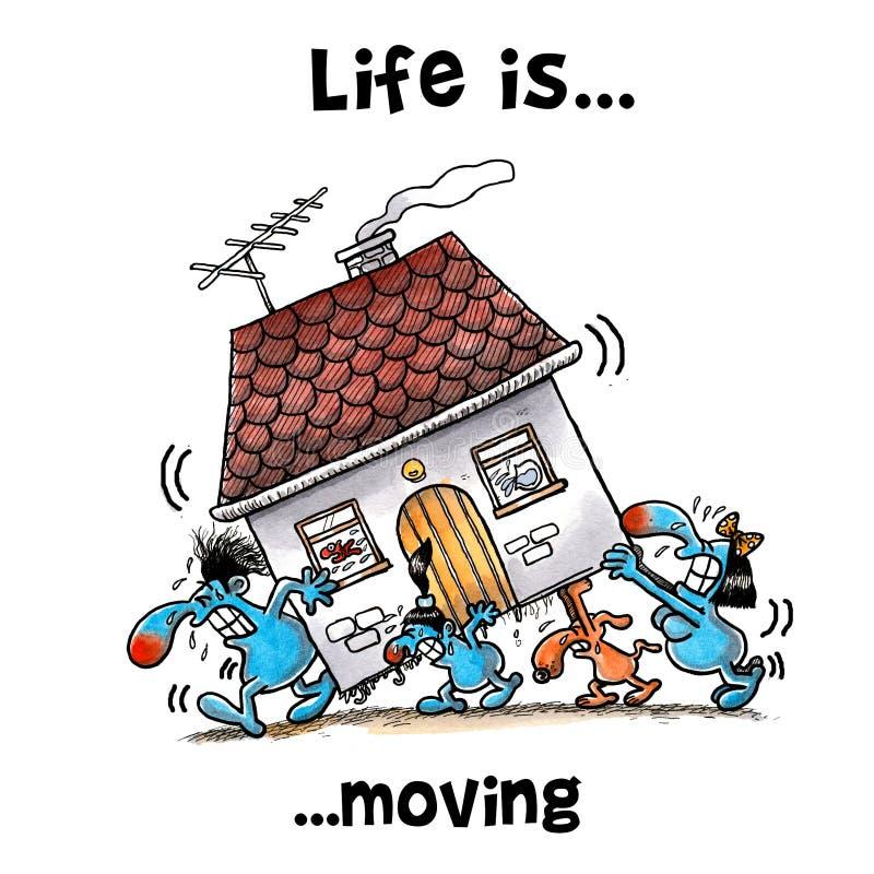 Все члены семьи двигают дом иллюстрация вектора