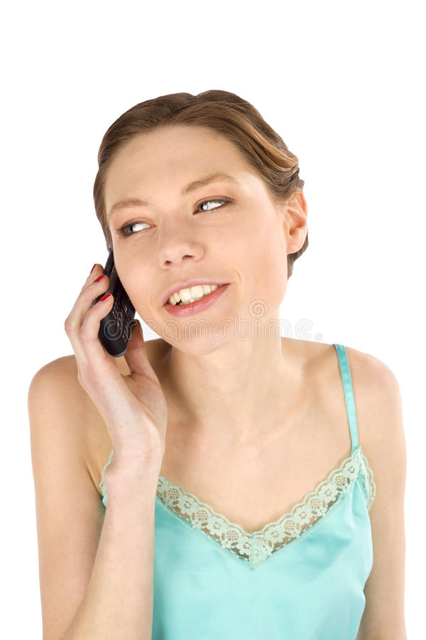 вскользь мобильный телефон слушает женщина стоковое изображение