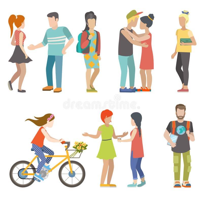 Вскользь городское конькобежца велосипеда молодые люди вектора студента плоского иллюстрация штока