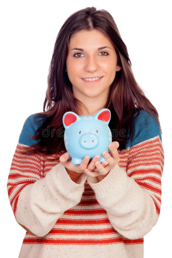 Вскользь девушка с голубым денежным ящиком стоковое изображение