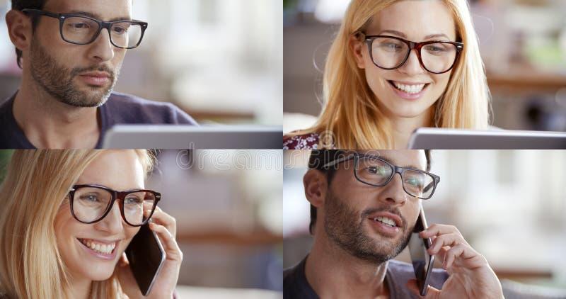 Вскользь комплект женщины и человека, коммерсантка, бизнесмен говоря smartphone и используя таблетку для того чтобы просматривать стоковые изображения