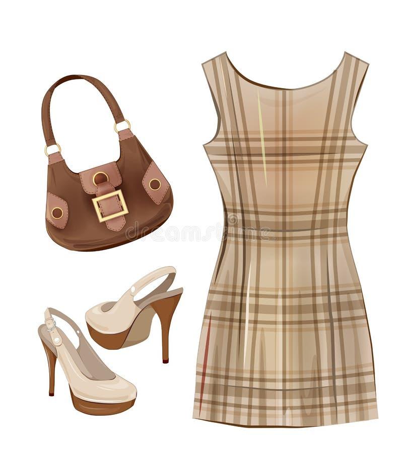 Вскользь платье, ботинки и сумка иллюстрация штока