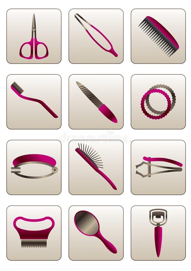 Вспомогательное оборудование косметики волос и кожи иллюстрация штока
