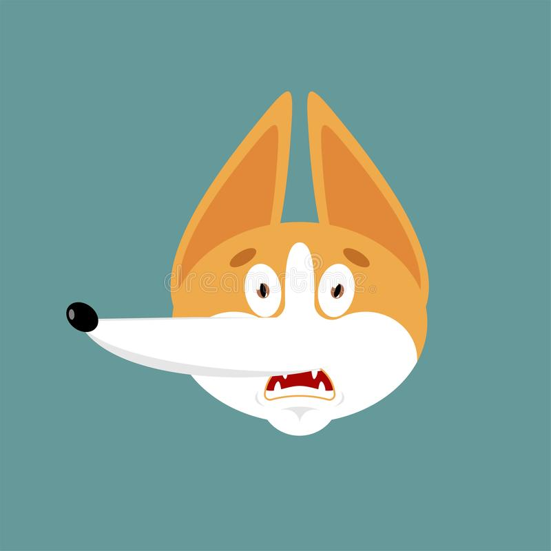 Вспугнутое Corgi emoji OMG Воплощение эмоций собаки о мой бог Любимец устрашил r бесплатная иллюстрация
