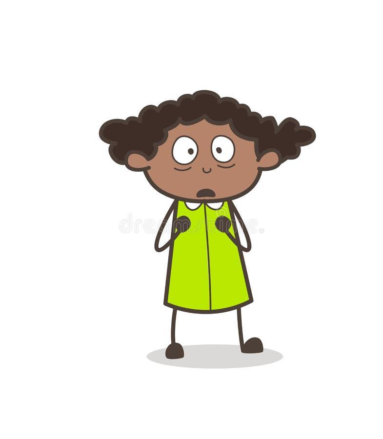 Вспугнутый вектор стороны маленькой девочки пугливый бесплатная иллюстрация
