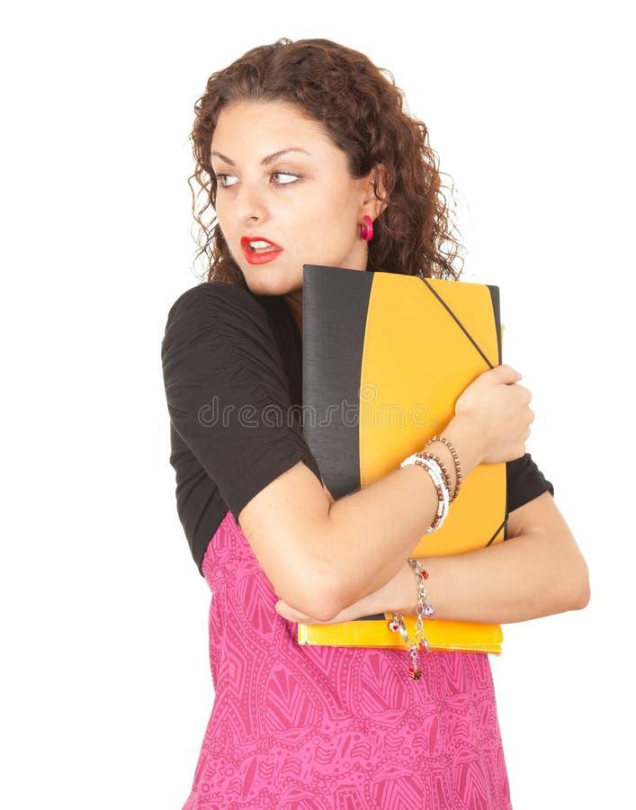 Вспугнутый женский студент стоковое фото