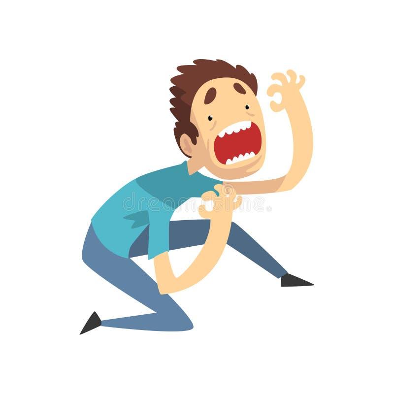 Вспугнутый и паникованный молодой человек кричащий отчаянно, эмоциональный парень испуганный что-то иллюстрация вектора на белом бесплатная иллюстрация