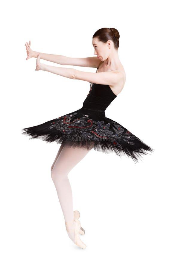 Вспугнутый портрет балерины изолированный на белой предпосылке стоковая фотография