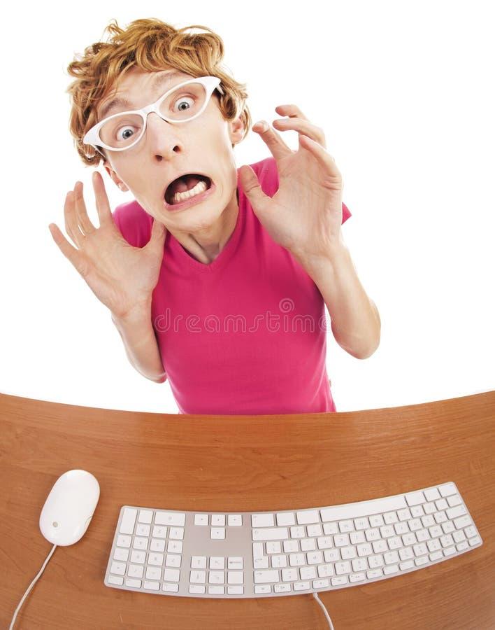 Вспугнутый работник офиса стоковые изображения