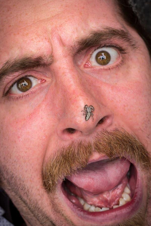 Вспугнутый человек Arachnophobia стоковое фото