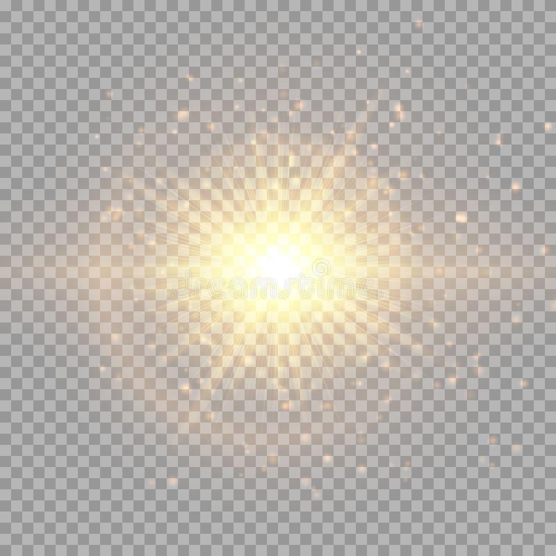 Вспышка золота в космосе иллюстрация вектора