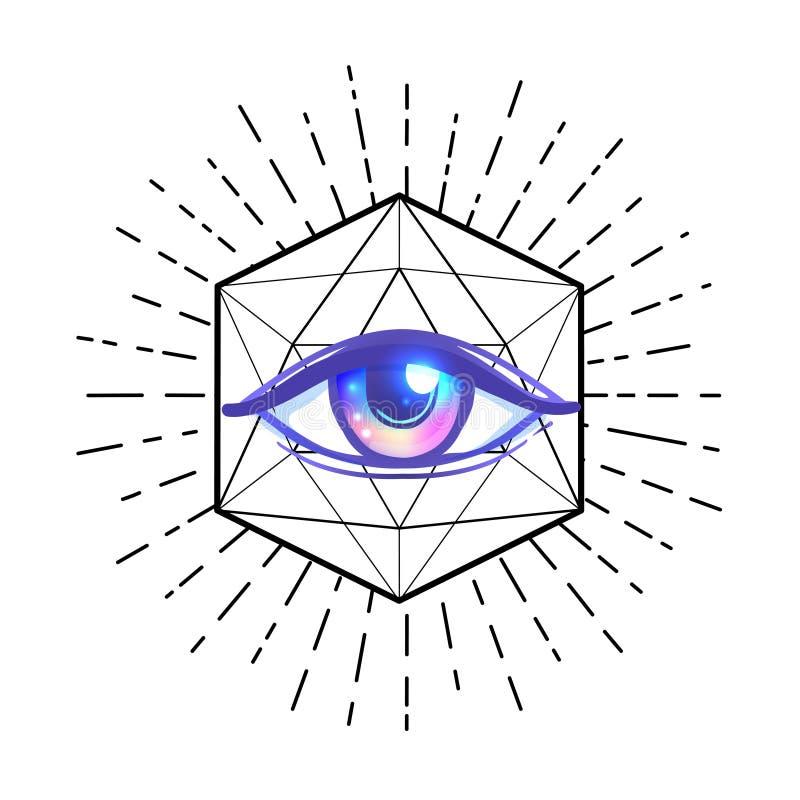Вспышка татуировки белизна экрана providence глаза предпосылки Masonic символ весь видеть глаза бесплатная иллюстрация