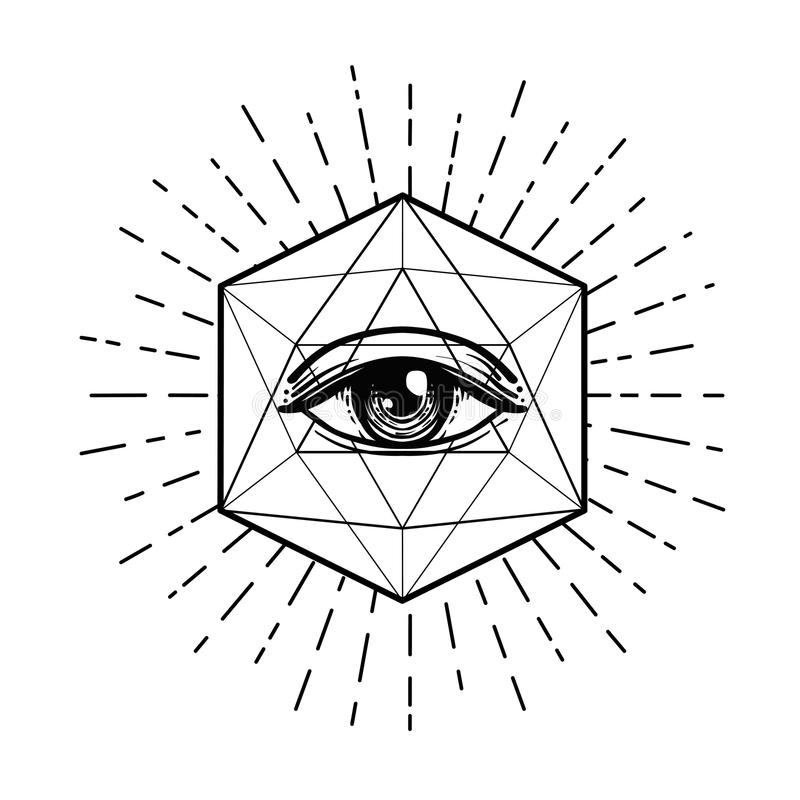 Вспышка татуировки белизна экрана providence глаза предпосылки Masonic символ весь видеть глаза иллюстрация вектора