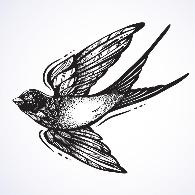 Вспышка татуировки Blackwork Красиво детальная птица летая ласточки Винтажный ретро дизайн стиля Изолированная иллюстрация вектор иллюстрация штока